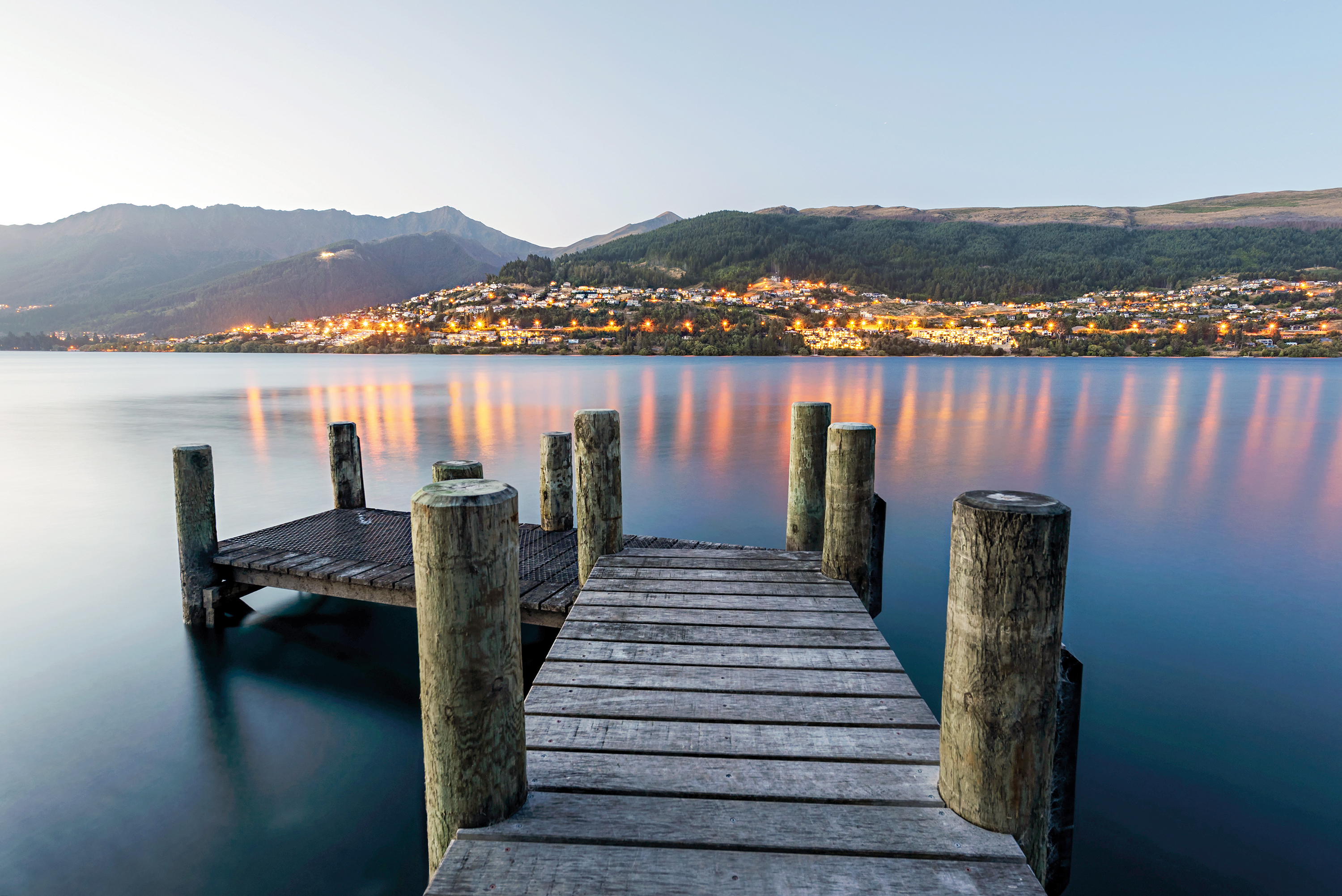 Wood jetty pier near Queenstown