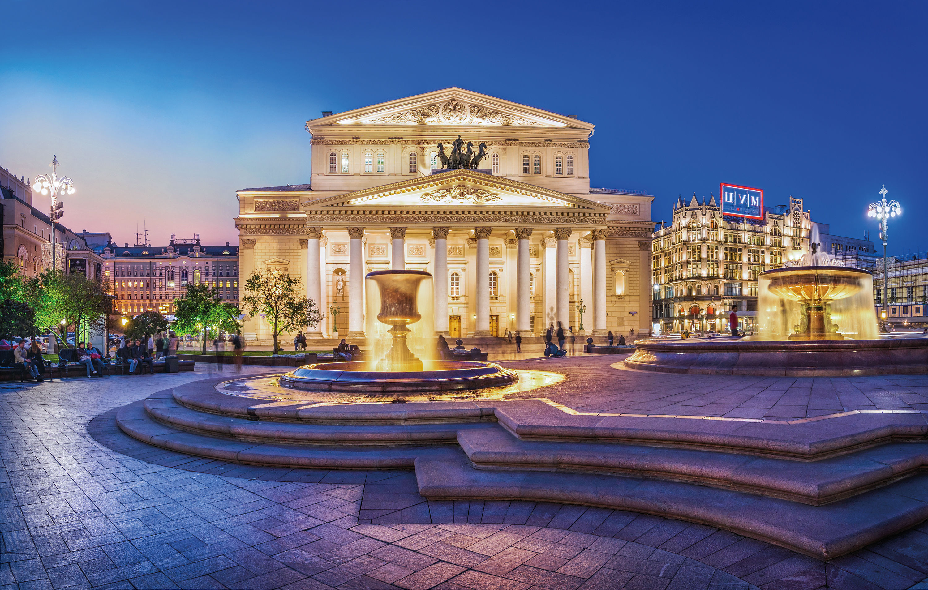 The Bolshoi theatre in the evening light
